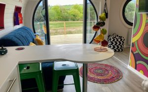 Let's Glamp Retro Luxury Glamping in West Wales Beatles looking out